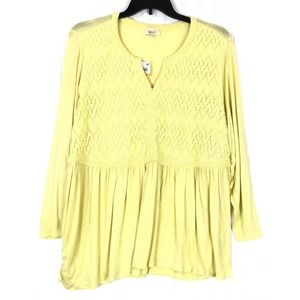 Style & Co top yellow long sleeve crochet front